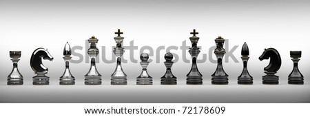 Chess  set isolated on white 3d render