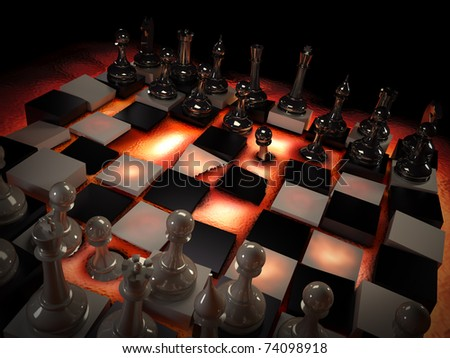 Chess set on red-hot lava. Concept: rules change.