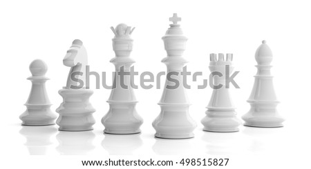 Chess set. White chess pieces isolated on white background. 3d illustration