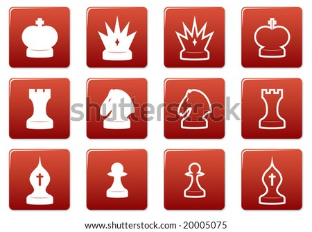 Chess square icons set. Red - white palette. Raster illustration.