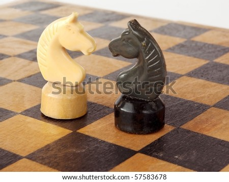 Chess strategy. White knight and black king down