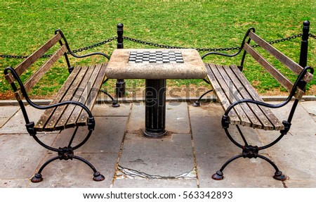 Chess table with empty benches in City Hall Park in Manhattan New York City NYC Stock fotó ©