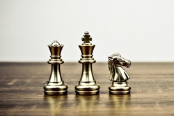 Chess team on chess board Concept of business strategic plan and professional teamwork and management.