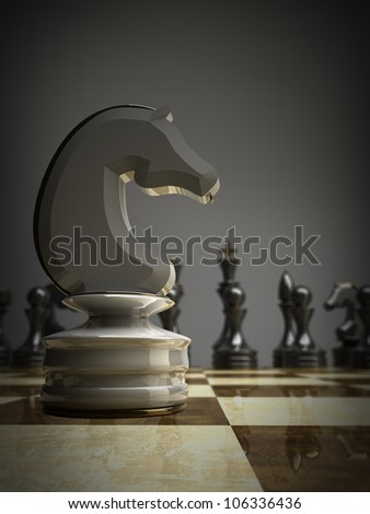Chess white horse background 3d illustration. high resolution