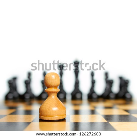 Chess. White pawn against black pieces