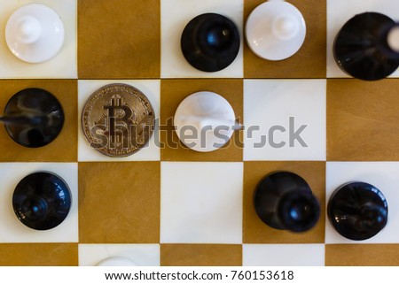 Chess with coin bitcoins behind the scenes business competition ideas for rewarding returns  #760153618