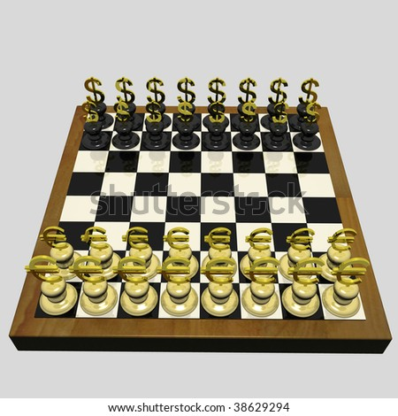 Chessboard On Which Instead Of Chessmen There Are Dollar And Euro. 3d Render
