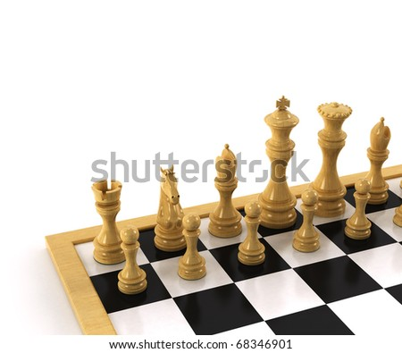 Chessboard over white background