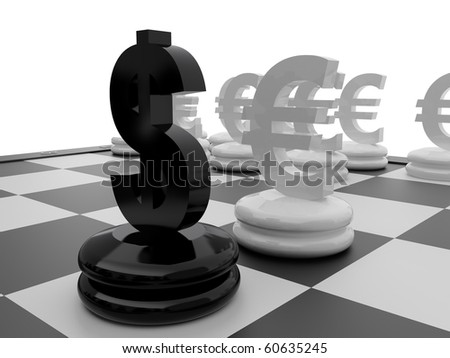 Chessboard with Euro and Dollar currency symbols.