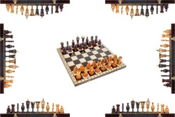 Chessboard with pieces in center and chess pieces on edges isolated on white. Chessboard background. Chessboard poster