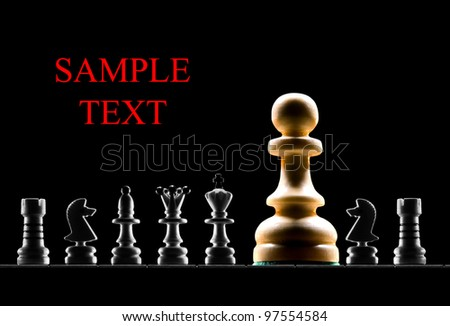chessmen on a black background