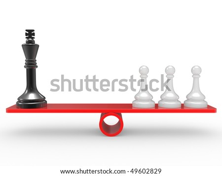 Chessmen on scales. The rivalry concept
