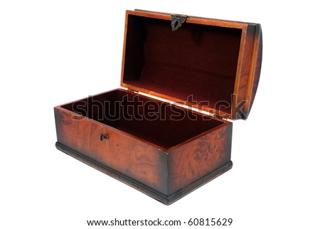 Chest for ornaments from mahogany with metal furnish