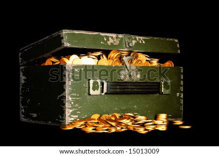 chest full of money; treasure chest with gold coins