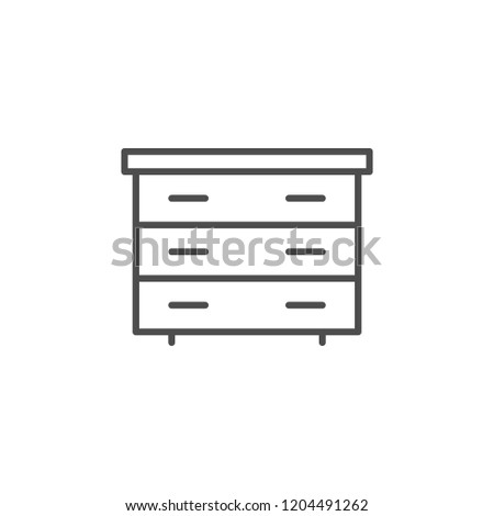 Chest of drawers line icon isolated on white