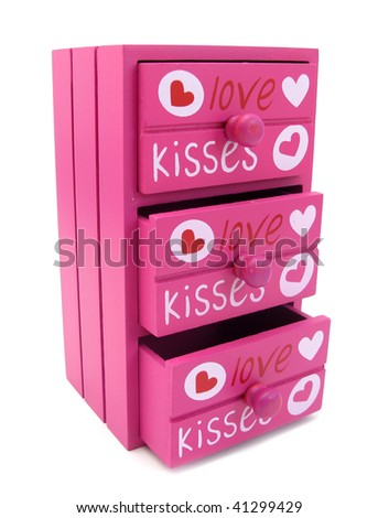 Chest of drawers pink with words of love and hearts