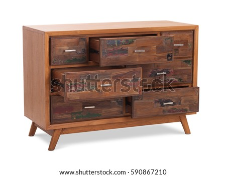 Chest of drawers, wooden boxes. Modern designer, commode isolated on white background. Series furniture stock photo