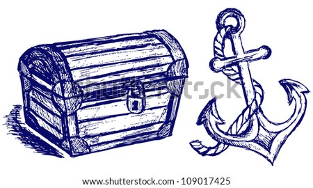 Chest sketch and anchor. Raster