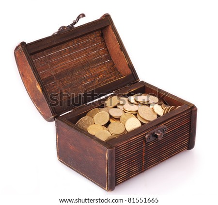 Chest with coins (Ukraine) isolated on white