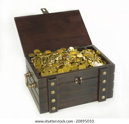 Chest with gold coins on a white background