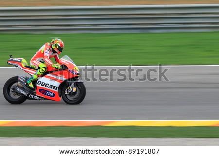 CHESTE - NOVEMBER 6: Valentino Rossi of Ducati Team participating at final race of MotoGP Grand Prix 2011 on November 6, 2011 in Cheste (Valencia), Spain