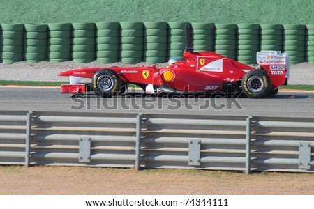 CHESTE, SPAIN - FEBRUARY 1: Ferrari F1 Team driver Fernando Alonso participates in the first official training day of the Formula 1 in Cheste on February 1, 2011 in Cheste (Valencia), Spain
