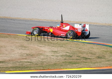CHESTE, SPAIN - FEBRUARY 1: Formula 1 in Cheste (Spain) - Ferrari F1 Team driver Fernando Alonso in 2011 first official training day on February 1, 2011 in Cheste (Valencia), Spain