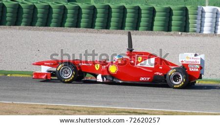 CHESTE, SPAIN - FEBRUARY 1: Formula 1 in Cheste (Spain) - Ferrari F1 Team driver Fernando Alonso in 2011 first official training day on February 1, 2011 in Cheste (Valencia), Spain