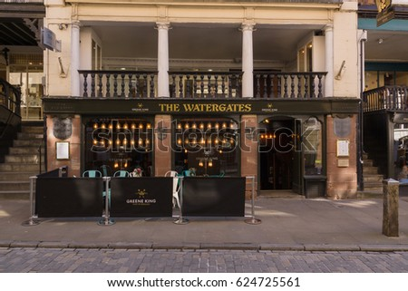 Chester England UK - March 25 2017: The Watergates a fine example of an undercroft a crypt like medieval basement or cellar now used as a bar and restaurant in the historic city of Chester