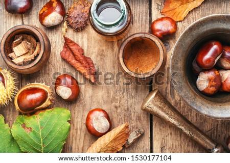 Chestnut and ingredients in homeopathy medicine.Medicine herbal