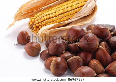 Chestnuts and corn - stock photo