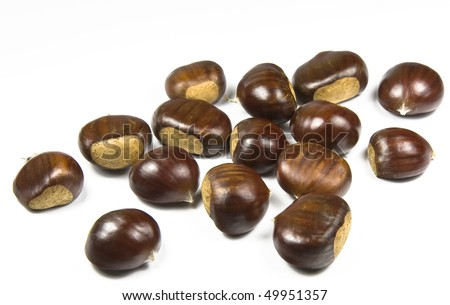 Chestnuts (castanea sativa) on white background
