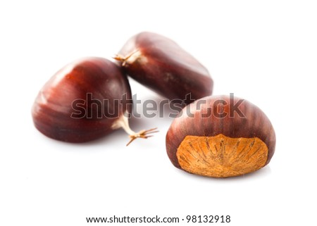 chestnuts heap isolated on white background