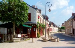 Cheverny village in France with french streets
