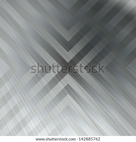 Chevron Brushed Metal Background - Brushed aluminum texture with triangular hazard stripe chevron lines.