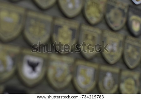 chevrons different types of troops in blur background #734215783