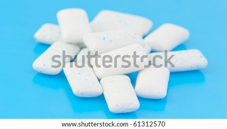 Chewing gums on blue #61312570