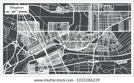 Cheyenne USA City Map in Retro Style. Outline Map.