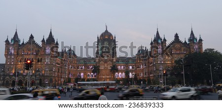 Chhatrapati Shivaji Terminus (CST) formerly Victoria Terminus in Mumbai, India is a UNESCO World Heritage Site and historic railway station which serves as the headquarters of the Central Railway. #236839333