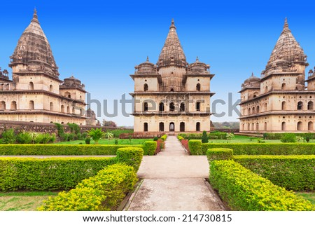 Chhatris or Cenotaphs are dome shaped structure built in 17th century for a long memory about raja of Orchha city.