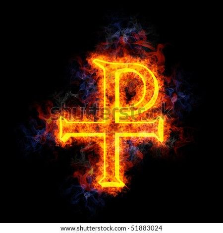 Chi-Rho symbol (for Christ), covered in flames.