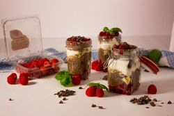 Chia Pudding Chocolate and Raspberries and Mint Leaves Food Photography