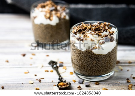 Chia seed pudding made with yogurt dan oats with extreme shallow depth of field. Stock photo ©