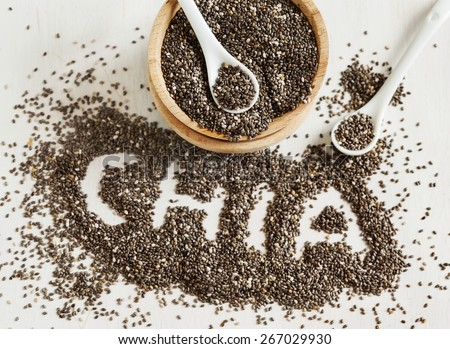 Chia seeds. Chia word made from chia seeds. Selective focus