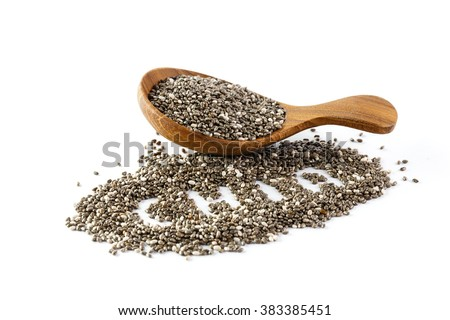 chia seeds in wooden spoon , Isolated on white background