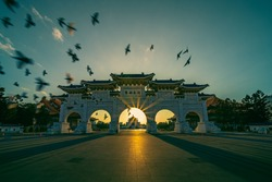 Chiang Kai Shek Memorial Hall with doves flying and the top building is written