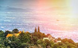 Chiang Mai landmark of Wat Phra That Doi Suthep Temple on the top of Doi Suthep mountain in Chiang Mai, Thailand