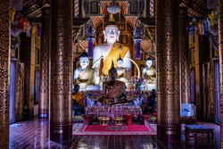 CHIANG MAI, THAILAND - April 10, 2020 : White Buddha Statue or Luang Pho Khao in Chiang Mai Province, Thailand.
