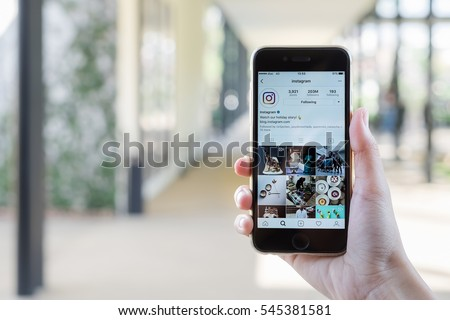 CHIANG MAI, THAILAND - DEC 25,2016: A women holds Apple iPhone 6S with Instagram application on the screen. Instagram is a photo-sharing app for smartphones.