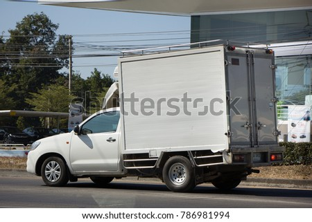 CHIANG MAI, THAILAND -DECEMBER 24 2017: Private Toyota Hilux Vigo  Pickup Truck with Container.  On road no.1001 8 km from Chiangmai city. #786981994